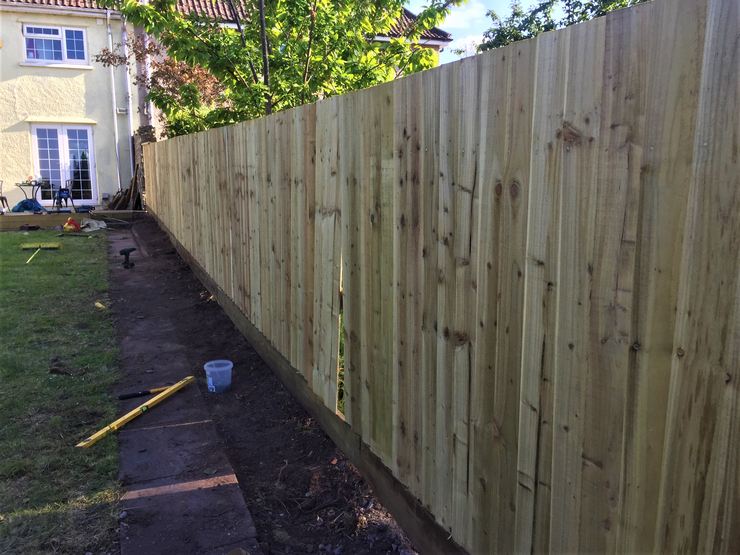 Feather edge fence nearly complete