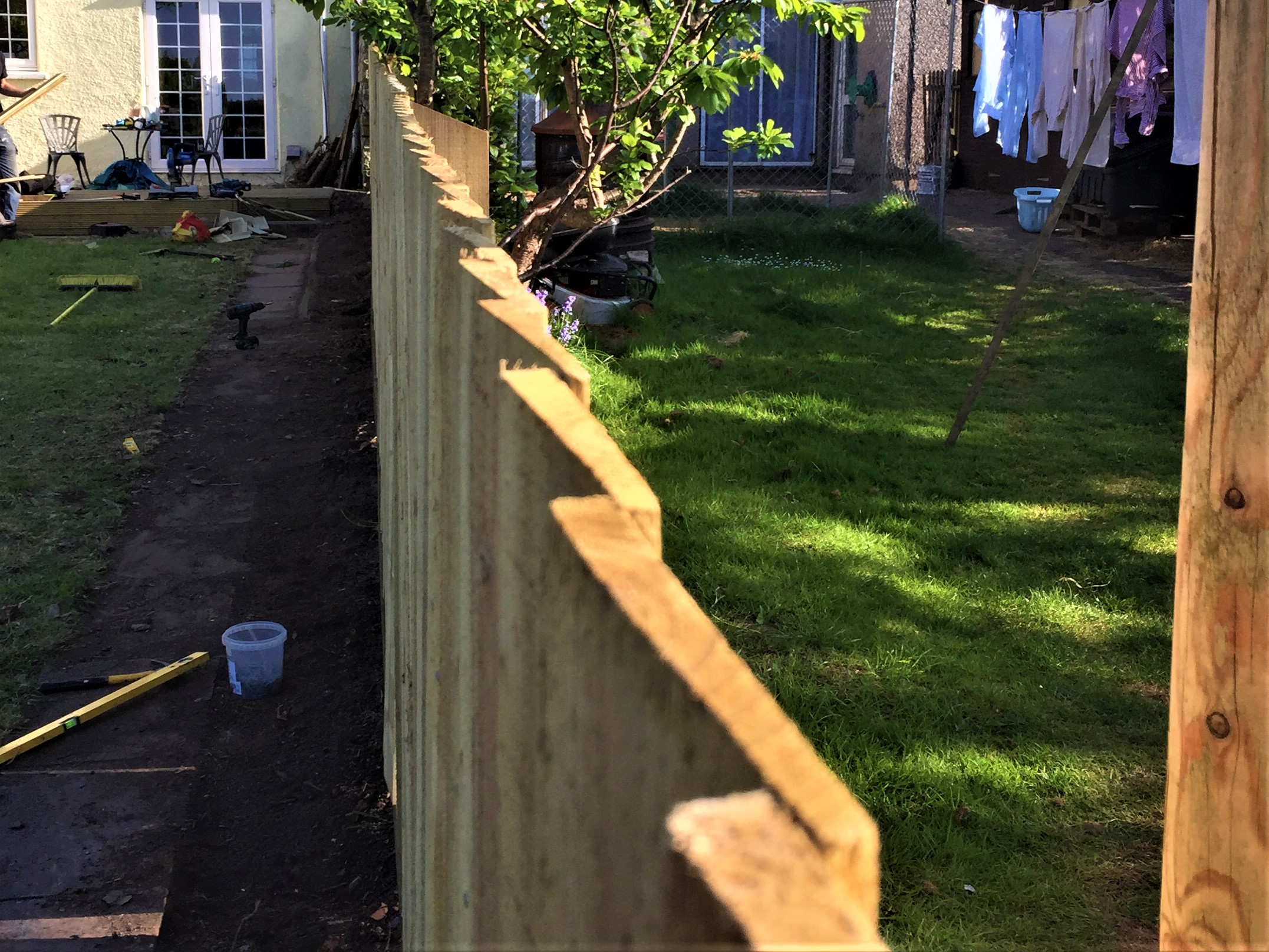 top of feather edge fence
