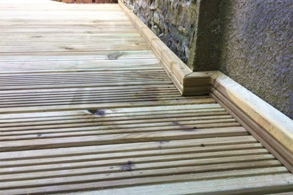 Close up of deck edging