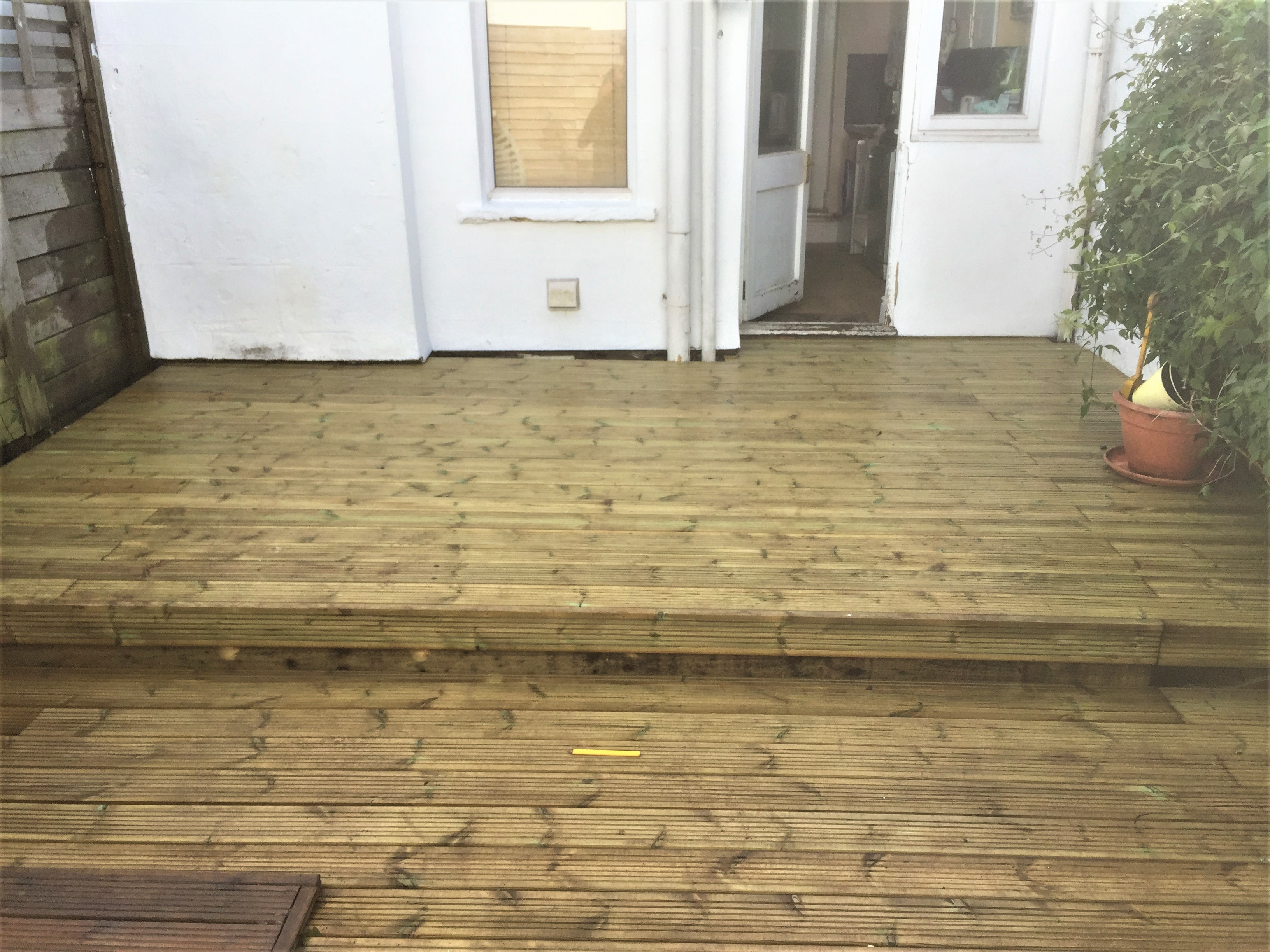 Completed decking with step