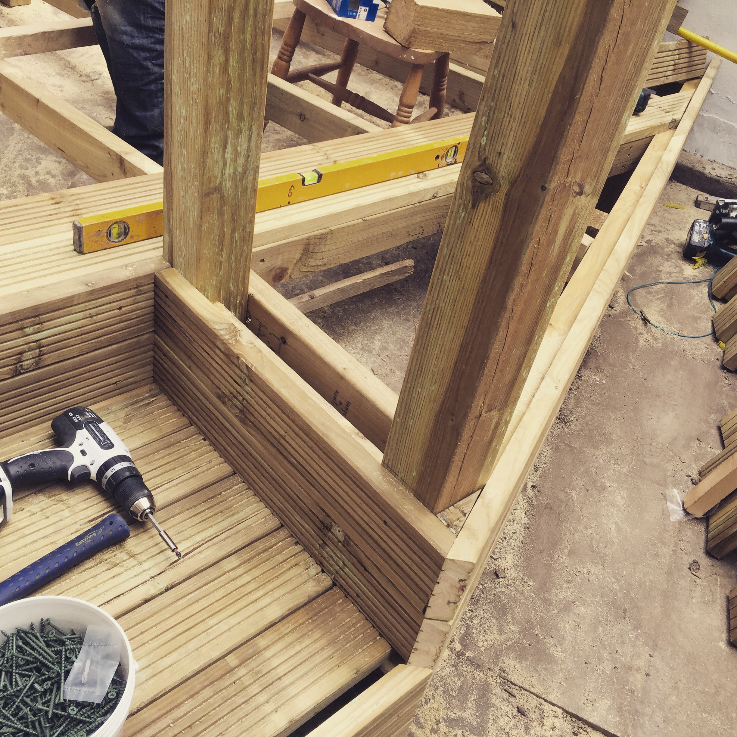 Complex deck step construction