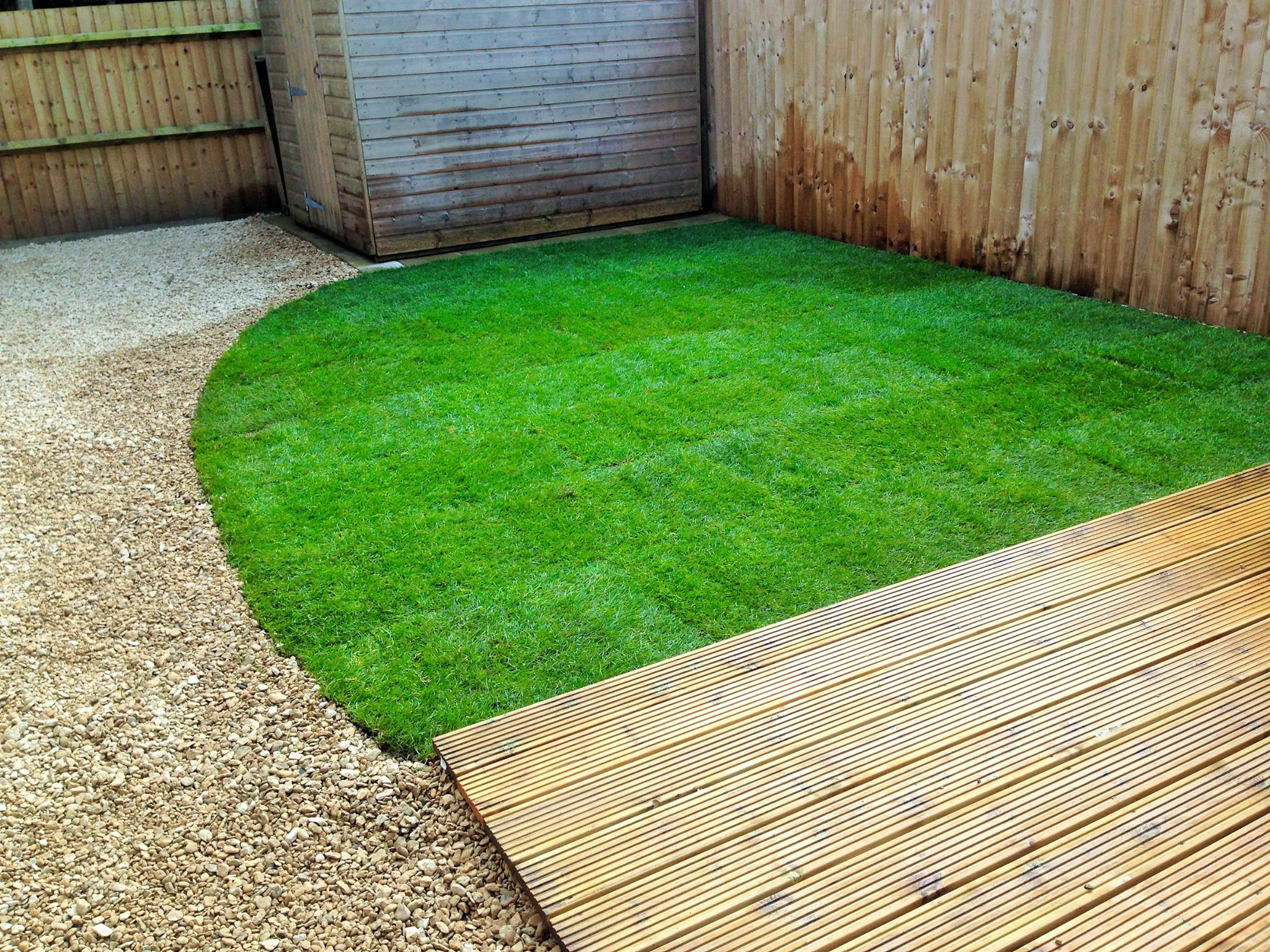 Decking turfing and graveling